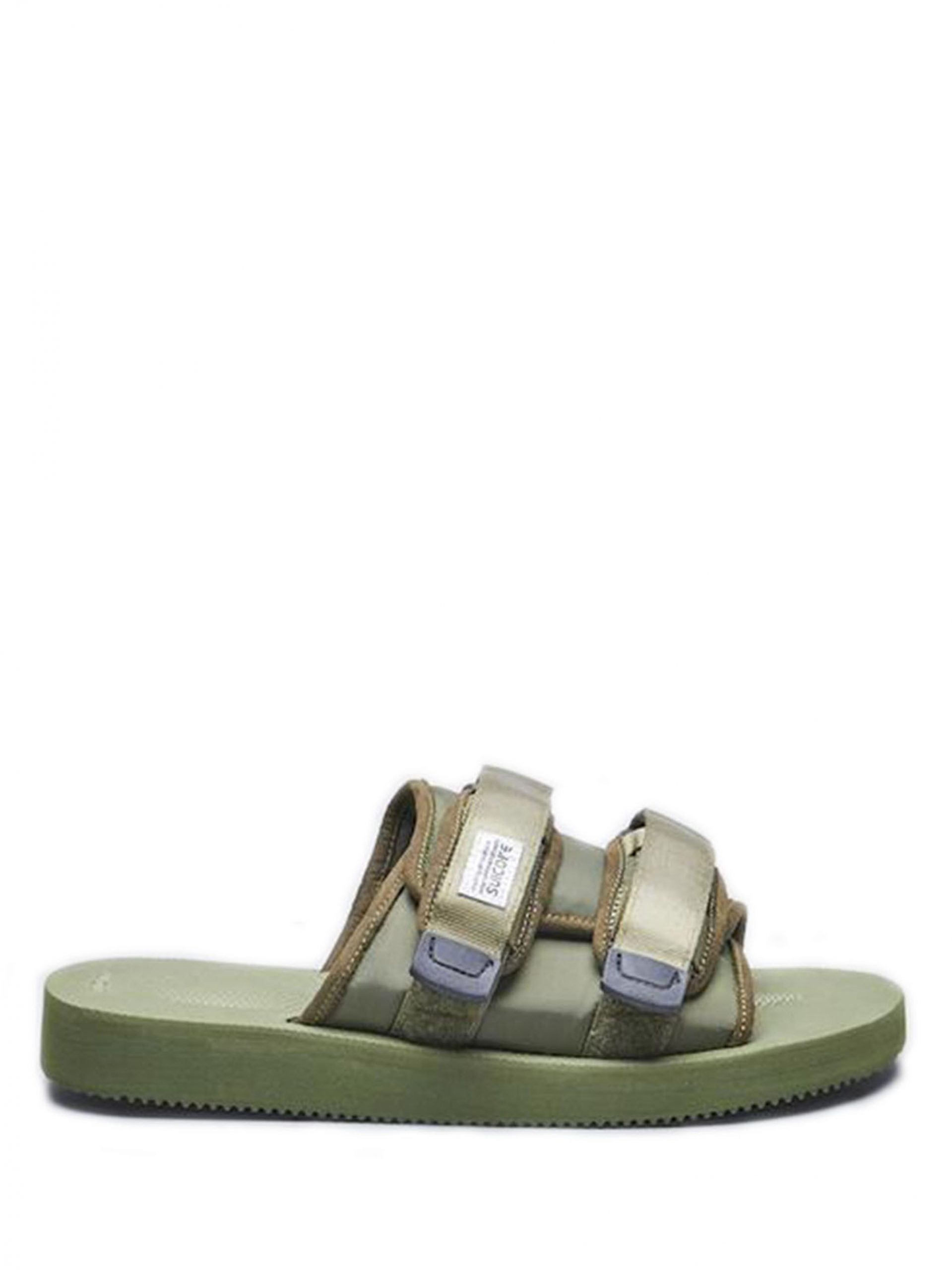 <p class='small-title'>SUICOKE</p>Green Moto Sandals
