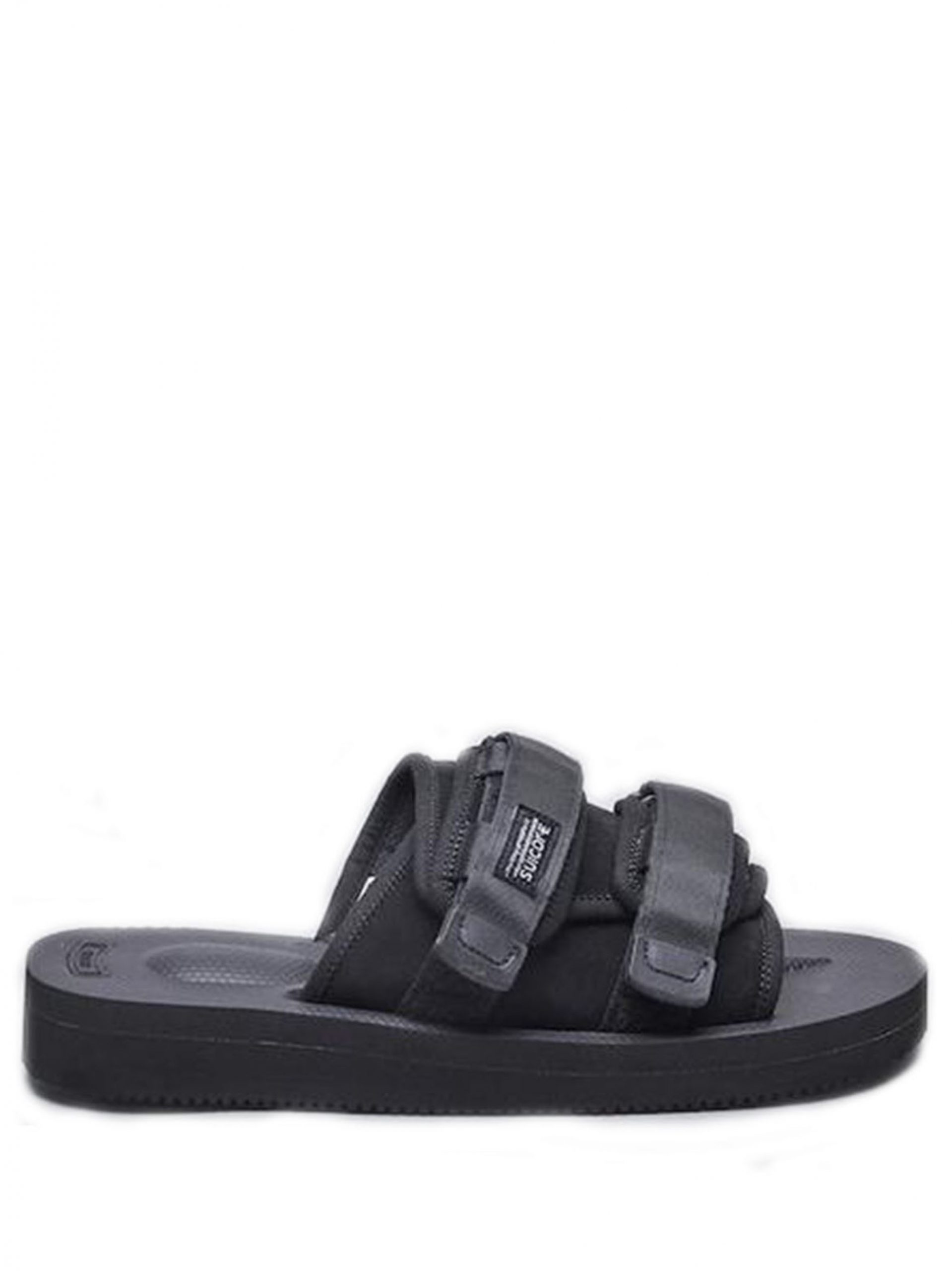 <p class='small-title'>SUICOKE</p>Black Moto Sandals