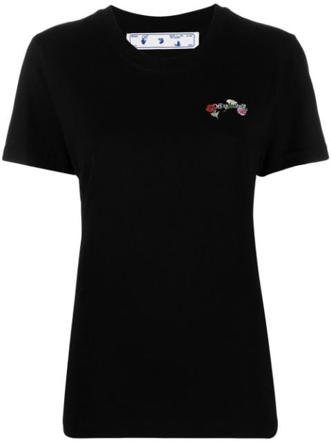 <p class='small-title'>OFF WHITE</p>Embroidered Flowers Arrows T-Shirt