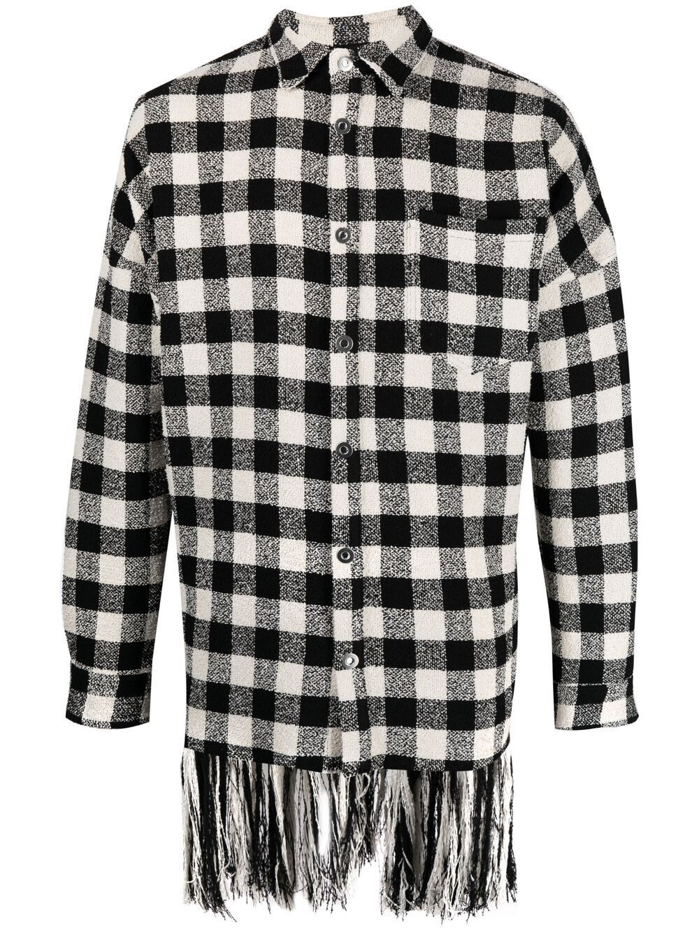 <p class='small-title'>PALM ANGELS</p>Fringed Check Shirt Jacket