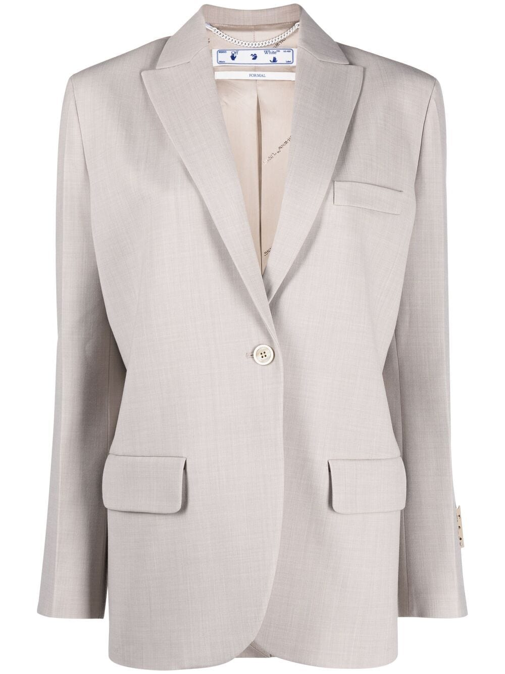 <p class='small-title'>OFF WHITE</p>Peak-Lapel Tailored Blazer