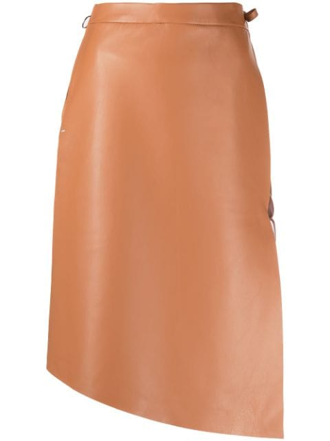 <p class='small-title'>OFF WHITE</p>Leather Midi Skirt