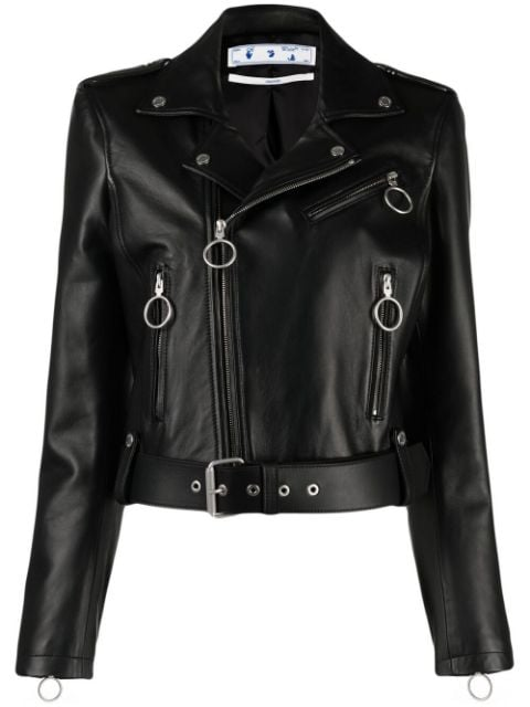 <p class='small-title'>OFF WHITE</p>Belted Cropped Biker Jacket