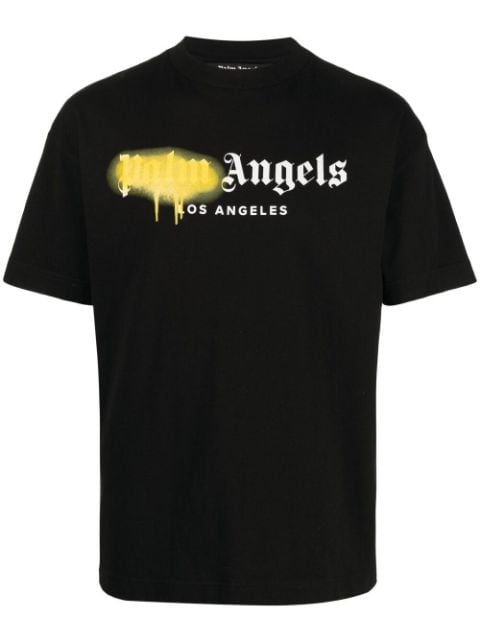 <p class='small-title'>PALM ANGELS</p>Sprayed Logo Cotton T-Shirt