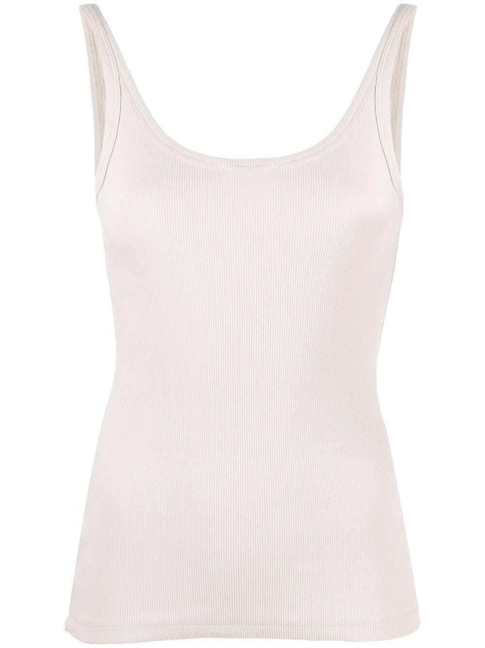 <p class='small-title'>OFF WHITE</p>Sleeveless Ribbed Tank Top
