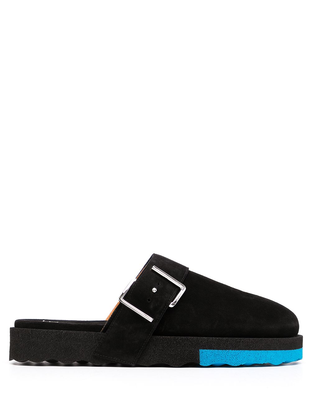 <p class='small-title'>OFF WHITE</p>Buckle-Detail Sponge Slippers