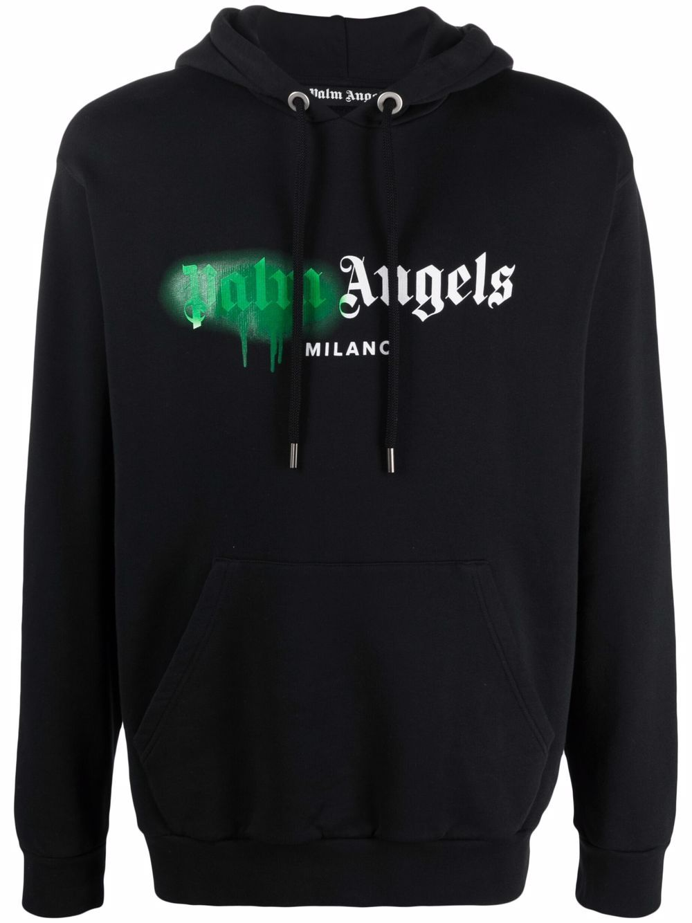 <p class='small-title'>PALM ANGELS</p>Sprayed Logo-Print Hoodie