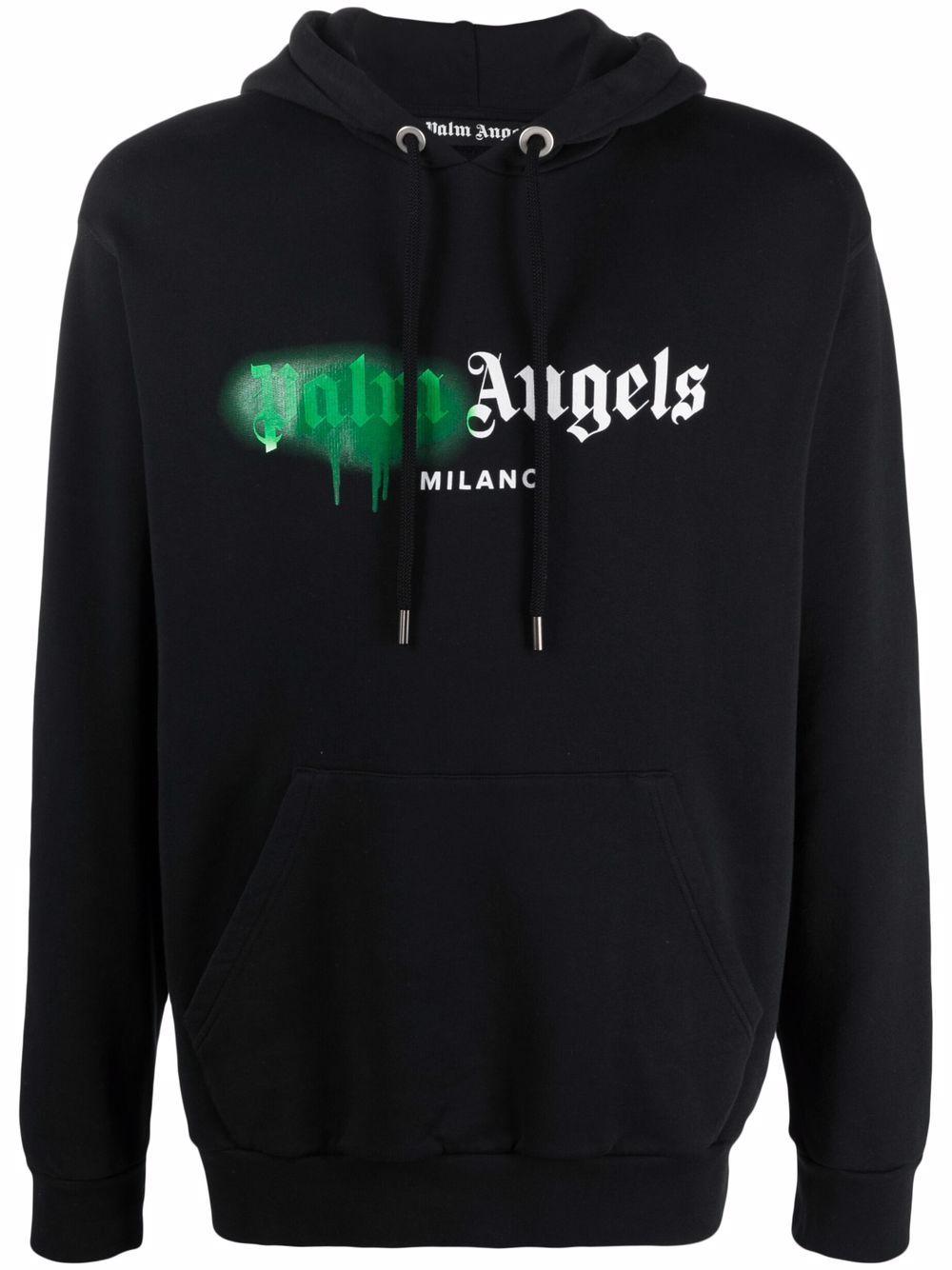 <p class='small-title'>PALM ANGELS</p>Sprayed Logo-Print Hoodie
