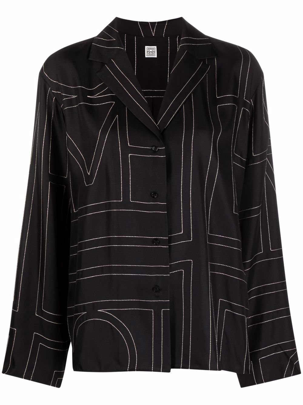 <p class='small-title'>TOTEME</p>Monogram-Embroidered Silk Shirt