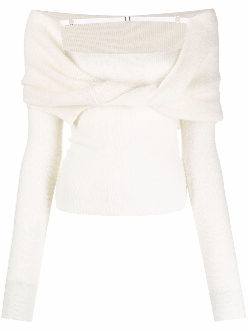 "<p class='small-title'>JACQUEMUS</p>""La maille Ascua"" Off-the-shoulder sweater"