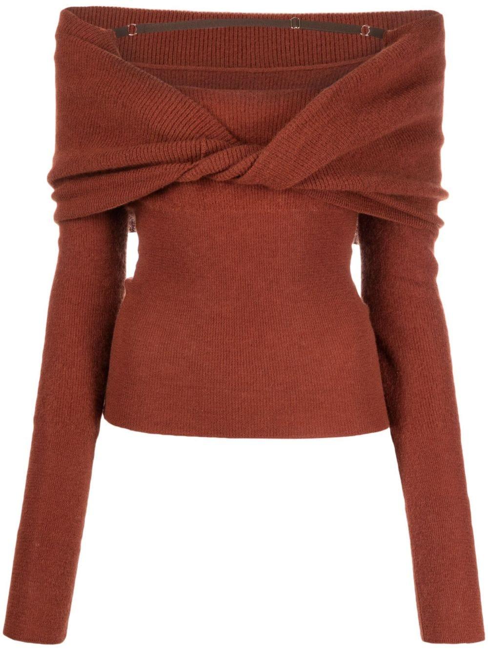 "<p class='small-title'>JACQUEMUS</p>"" La maille Ascua "" Off-the-shoulder sweater"