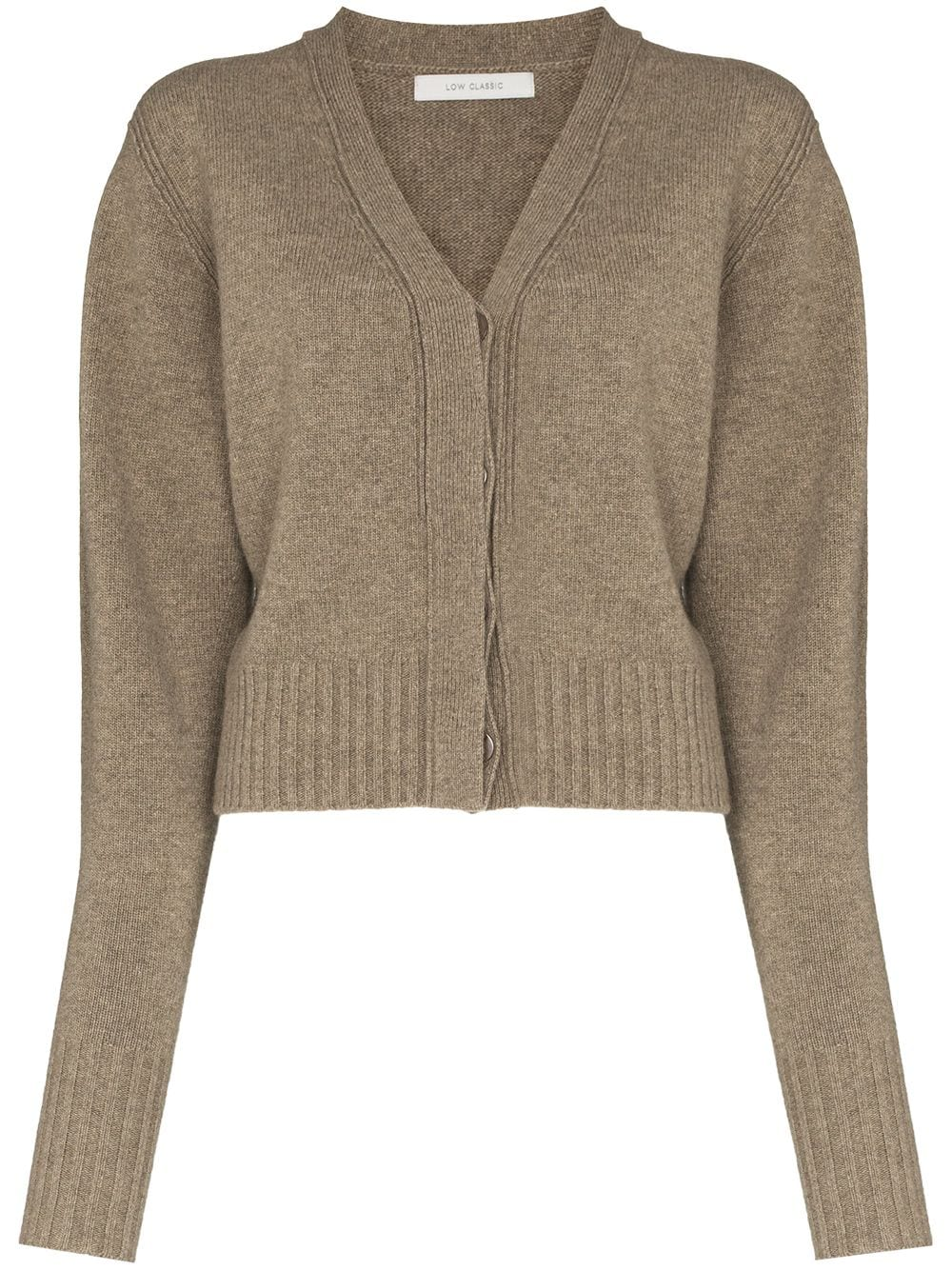 <p class='small-title'>LOW CLASSIC</p>V-Neck Wool Cardigan